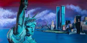 Painting Statue of Liberty and NY skyline