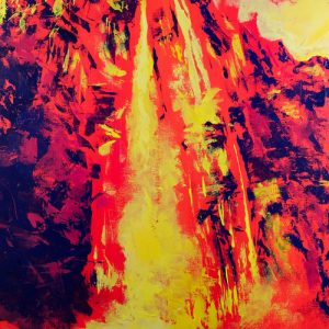 Abstract painting of waterfall