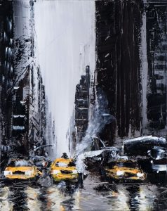 Black and White painting with Yellow taxi's in New York